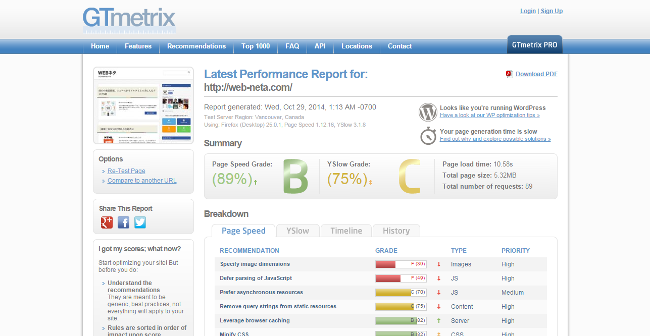 Latest Performance Report for  http   web neta.com    GTmetrix